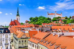 Bratislava, Slovakia. View of the Bratislava castle, St. Martins Cathedral Stock Images