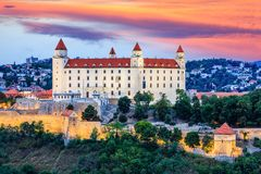 Bratislava, Slovakia. View of the Bratislava castle at the sunset stock photo