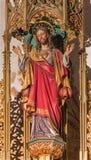 BRATISLAVA SLOVAKIEN - JANUARI 14, 2014: Hjärta av den Jesus Christ Carved statyn från 19 cent Royaltyfria Foton