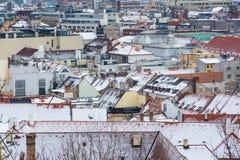 Bratislava Slovakien - Januari 24th, 2016: Sikt av staden Arkivbilder