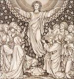 BRATISLAVA, SLOVAQUIE, NOVEMBRE - 21, 2016 : La lithographie de l'ascension dans Missale Romanum images libres de droits