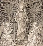 BRATISLAVA, SLOWAKEI, NOVEMBER - 21, 2016: Die Lithographie des St Joseph durch unbekannten Künstler F M S 1889 stockbilder