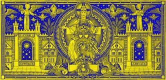 BRATISLAVA, SLOWAKIJE, NOVEMBER - 21, 2016: De lithografie van Heilige Drievuldigheid Royalty-vrije Stock Afbeeldingen