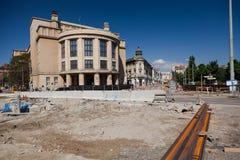 Bratislava, Slowakije, zevende Mei, 2015: Wederopbouw van de straat van Stefanik royalty-vrije stock afbeelding