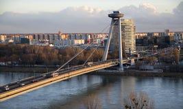 Bratislava - SNP bridge in evening Stock Photo