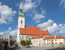 Bratislava- St. Martins cathedral from south and memorial of holocaust. royalty free stock photos