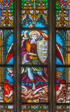 Bratislava - St. Michale archangel from windowpane in st. Ann chapel from Matins cathedral Stock Images