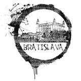 Bratislava Stamp. A stamp of the capital of Slovakia, Bratislava Stock Images