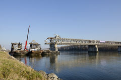 The Bratislava Stary most bridge demounting Royalty Free Stock Photos