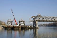 The Bratislava Stary most bridge demounting Royalty Free Stock Photo