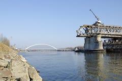 The Bratislava Stary most bridge demounting Royalty Free Stock Image
