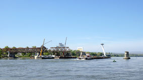 The Bratislava Stary most bridge dismantling Royalty Free Stock Photos