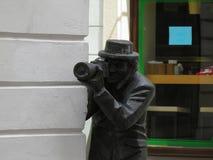 Bratislava statue of paparazzi Stock Photos