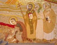 Bratislava - szczegół mozaika w St Sebastian katedrze projektującej jesuit marÂko Ivan Rupnik Obrazy Stock