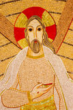 Bratislava - szczegół mozaika wskrzeczający Chrystus w świętego Sebastian katedrze projektującej jesuit marÂko Ivan Rupnik Obrazy Royalty Free