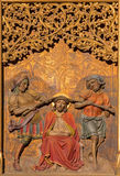 Bratislava - Torture of Jesus with the crown of thorns on gothic side altar in st. Martin cathedral. Stock Images