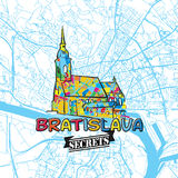 Bratislava Travel Secrets Art Map Stock Photos