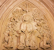 Bratislava - Trinity relief from st. Ann gothic side chapel - prior north portal of church from 14. cent. in st. Martin cathedral. Royalty Free Stock Photography