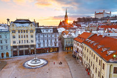 Bratislava. View of the main square and the old town from the tower of the city hall, Bratislava, Slovakia stock photography