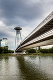 Bratislava view with perspective of landmark, bridge over river Danube. Stock Images
