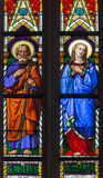 Bratislava - Virgin Mary and st. Joseph on windowpane from 19. from st. Martin cathedral. Stock Photo