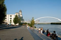 Bratislava - waterfront Danube and Apollo bridge Stock Image
