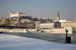 Bratislava in winter Stock Photos