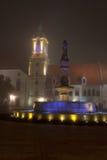 Bratislova misty fountain. Bratislava mist give a glow to the old town quarter Royalty Free Stock Photos