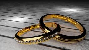 Bratnie duszy na zawsze - ciepły, jarzący się słowa wśrodku dwa wiązał złotych pierścionki symbolizować wiecznie miłości i małżeń ilustracji