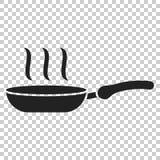 Bratpfannenikone in der flachen Art Kochen der Wannenillustration auf isola Stockbild