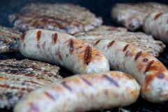 Brats and Burgers Royalty Free Stock Photography