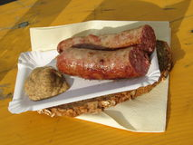 Brats and Gourmet Mustard on Bread in Vienna Stock Photo