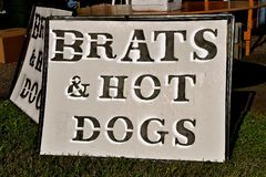 Brats and Ht Dogs signage Royalty Free Stock Image