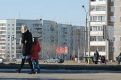 Bratsk, calle Krupskoy-Ryabikova Fotografía de archivo
