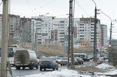 Bratsk street Gagarina. Bratsk street in the semple day with haus Royalty Free Stock Photo