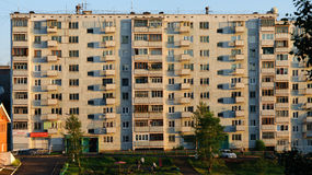 Bratsk street Krupskoy 18. Bratsk street in the semple day with haus Royalty Free Stock Images