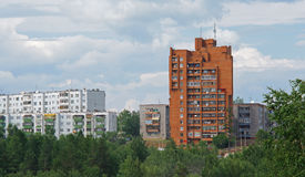 Bratsk, street  Ryabokova 15. Bratsk street in the sammer day with haus Royalty Free Stock Image
