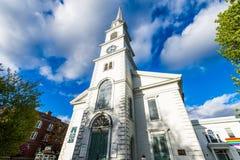 Brattleboro, Vermonts小舒适市中心 免版税库存图片