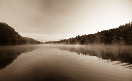 Brattleboro, morning mist on the Connecticut River. Stock Photo
