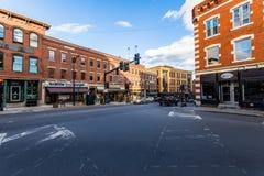 Brattleboro, Vermonts kleines gemütliches Stadtzentrum Stockbilder