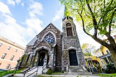 Brattleboro, Vermonts pequeño centro de la ciudad acogedor imagen de archivo libre de regalías