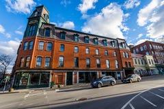 Brattleboro, Vermonts pequeño centro de la ciudad acogedor Foto de archivo