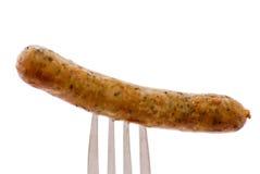 Bratwurst auf Gabel stockfoto