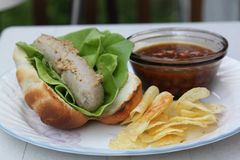 Bratwurst baked beans and chips. A plate of summer fare; bratwurst with brown mustard and lettuce in a bratwurst bun with baked beans and potato chips Stock Photos
