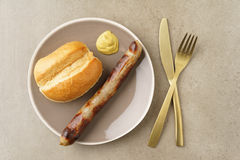 Bratwurst with bread roll Royalty Free Stock Image