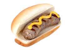 Bratwurst on a Bun. Grilled bratwurst on a bun with mustard isolated on white Stock Image