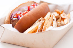 Bratwurst and crispy fries Stock Image