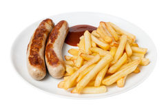Bratwurst and french fries Royalty Free Stock Images