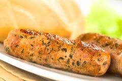 Bratwurst fritada imagem de stock
