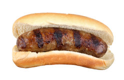 Bratwurst grelhada isolada imagens de stock